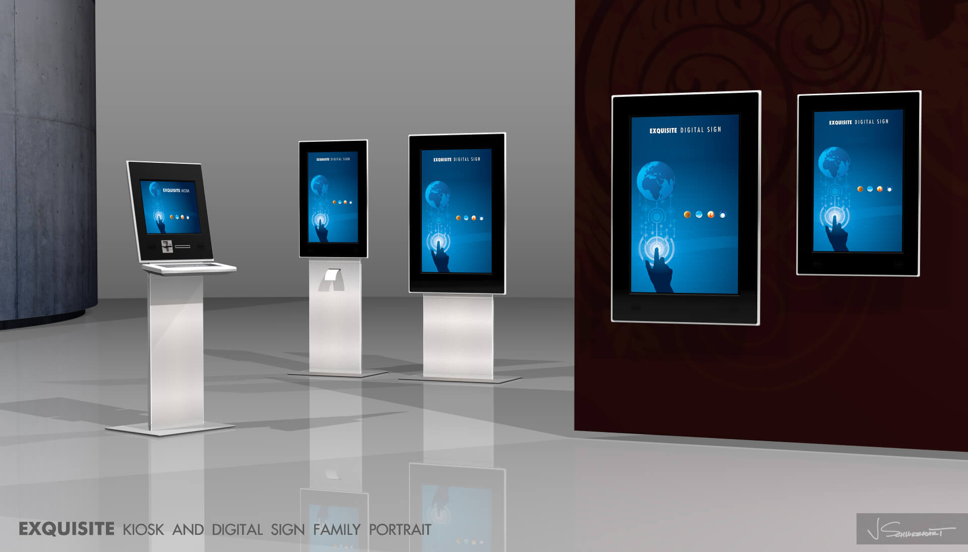 Exquisite Digital Sign and Kiosk Designed by Industrial Designer Jer Schweickart