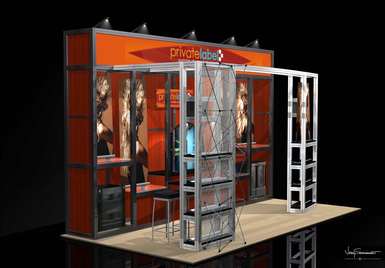 Private Label 10 x 20 Exhibit Stand Designed by Industrial Designer Jer Schweickart