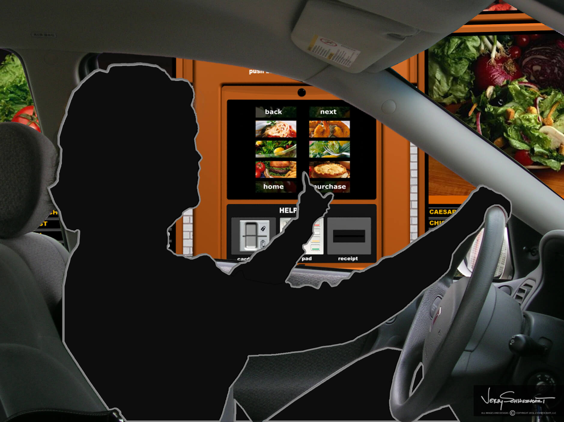 QSR Drive-Thru Kiosk has design features which take into account human factors and various user elevations; Designed by Industrial Designer Jer Schweickart